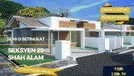 <br /> Semi-D setingkat, Jalan Lombong Timah 2, Seksyen 29, Shah Alam, dibuka untuk tempahan unit.<br /> <br /> Semi-D Setingkat<br /> 4 bilik / 2 bilik air<br /> Luas tanah 35'X78′<br /> Luas binaan 25'X50′<br